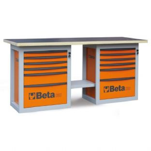 "Beta C59B-O ""Endurance"" Workbench With Two Cabs With Six Drawers (Orange)"